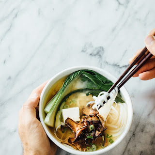 MISO NOODLE SOUP WITH TOFU, CHANTERELLES AND BOK CHOY