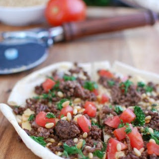 Spiced Beef and Hummus Pita Pizza.