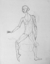 "Photo: Dancer - sketch 1, 2012, 16"" x 20"", graphite, stretched canvas."