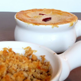 Turkey Pot Pie with Gravy and Cranberry Sauce.