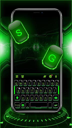 Green Neon Tech Keyboard Theme 1.0 screenshots 2