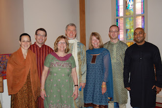 Photo: Members and friends of L'ville First wore Indian clothes on Sunday, January 29th, to celebrate their partnership with the Christian Hospital, Mungeli.   Pictured are Kittie Miller, cousin of Dr. Anil Henry, David Richardson, Landa Simmons, Chris Furqueron, Mary Brownley, Adam Saulter, and Conal Charles.