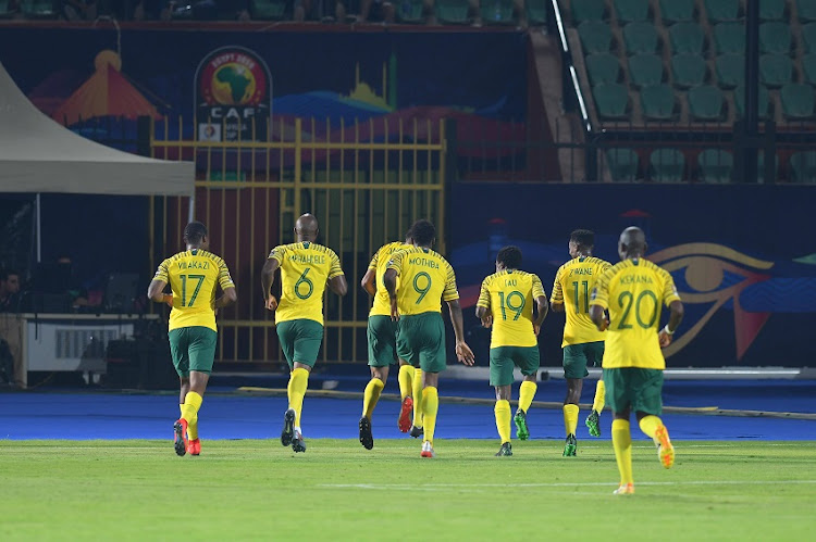 Bafana Bafana players during the African Cup of Nations match between South Africa and Namibia at Al-Salam Stadium on June 28, 2019 in Cairo, Egypt.