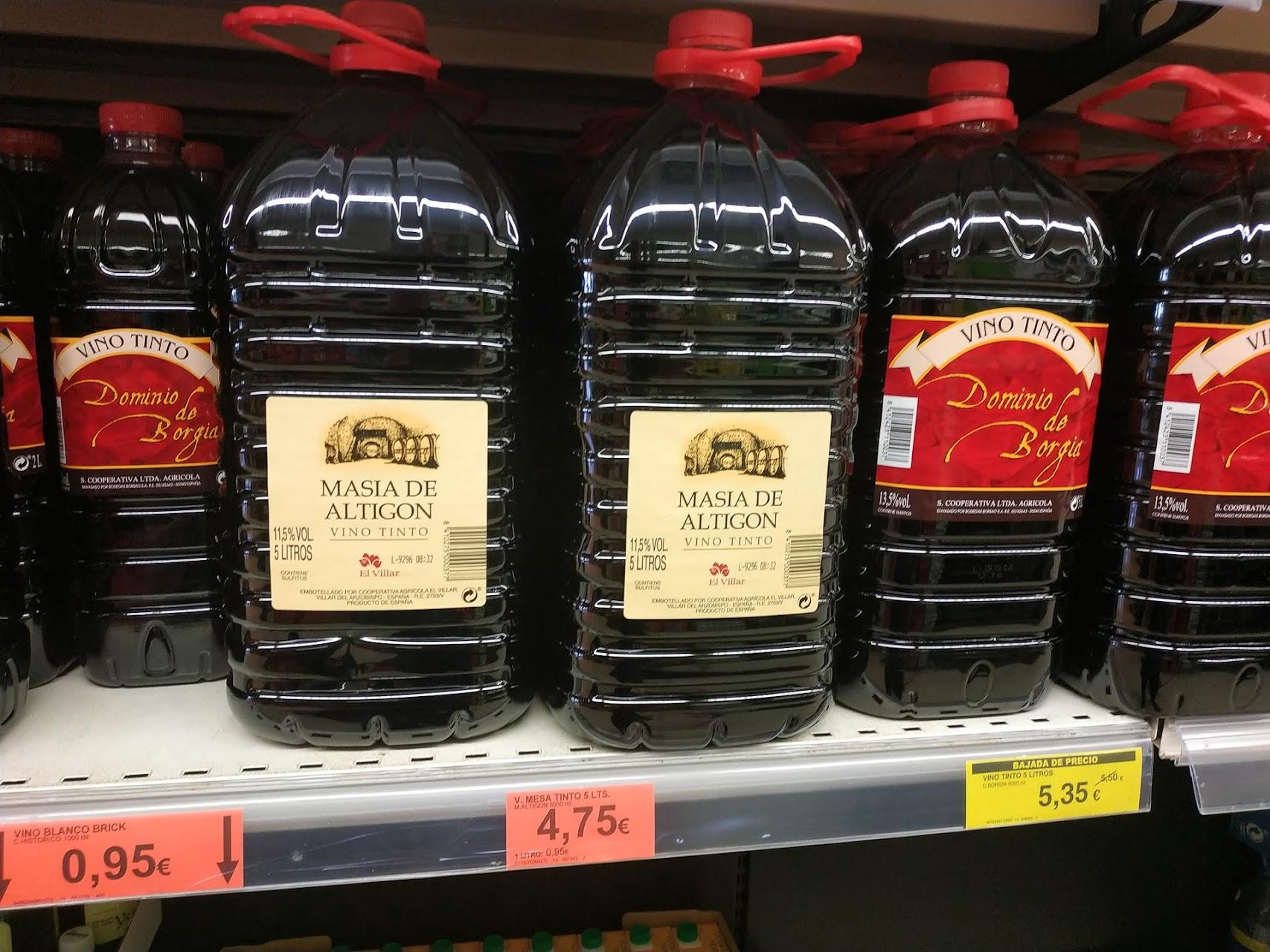 Вино в 5литровых бутылках