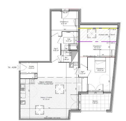 Vente appartement 4 pièces 99,15 m2