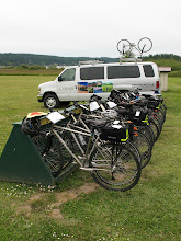 Photo: Day 4: About 25 bikes, all with exactly the same gear, with printed directions on the handlebar. Plus their support van. Seems like cheating.
