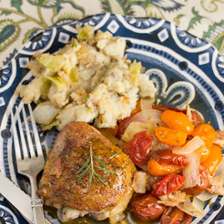 Single-Skillet Bacon-Rosemary Chicken Thighs with Roasted Tomatoes
