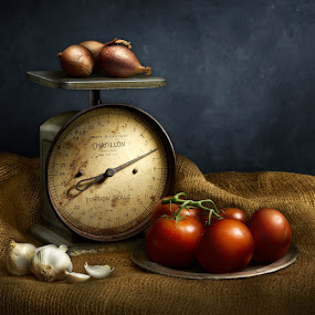 The Scale  by Cindy Hartman - Artistic Objects Still Life ( burlap, scale, garlic, still life, scallions, tomatoes )