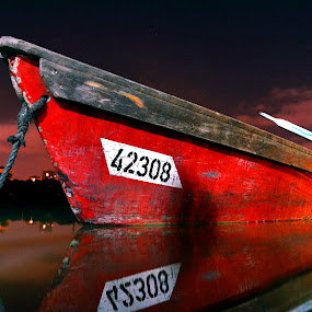 Red boat by Natalie Ax - Transportation Boats ( red, moored, night, rope, nightscape, shore, perspective, dock, water, lake, boat, transportation )