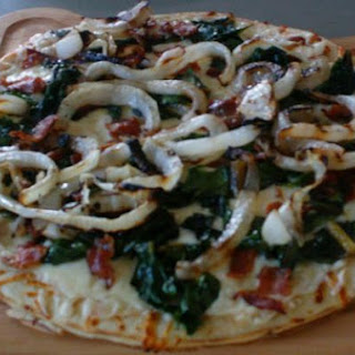 Vidalia Onion Pizza With Bacon and Swiss Chard