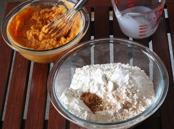 Whisk together dry ingredients in a medium bowl. Whisk pumpkin, buttermilk, and vanilla in...