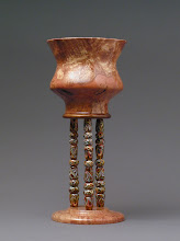 Photo: Glass Spindle Goblet Charles Mosser, turner Virginia Mosser, beadmaker