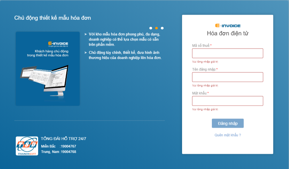 Đăng nhập vào phần mềm hóa đơn điện tử