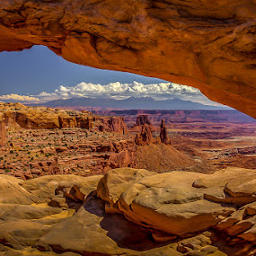 Vista through the arch by Ruth Sano - Landscapes Caves & Formations ( clouds, mountains, national park, arch, formations, travel,  )