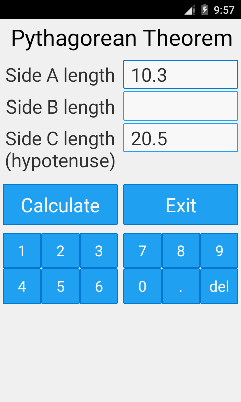 Pythagorean Theorem Calculator- screenshot