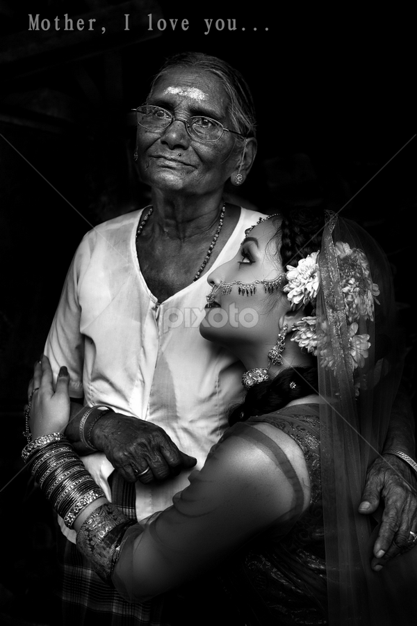 Mother, I love you by Ivan Lee - Captioned Photos Mother's Day ( canon, girl, mother, hug, bw, mother's day, pwcmothers )