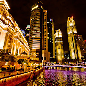Fullerton Hotel and Commercial buildings by Tin Htoo Khaing - City,  Street & Park  Vistas ( fullerton, night scene, singapore, central business district, singapore river )