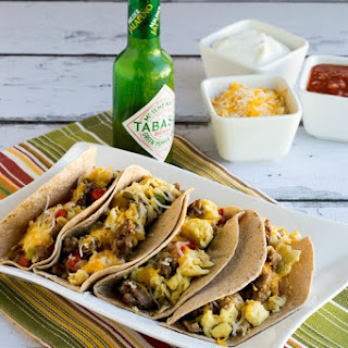 Low-Carb Breakfast Tacos with Sausage, Peppers, and Eggs.