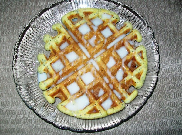 Put a waffle on the plate and drizzle with the glaze while the waffles...