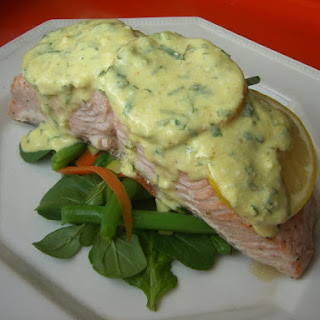 Salmon in Parchment with Curried Yogurt Sauce.