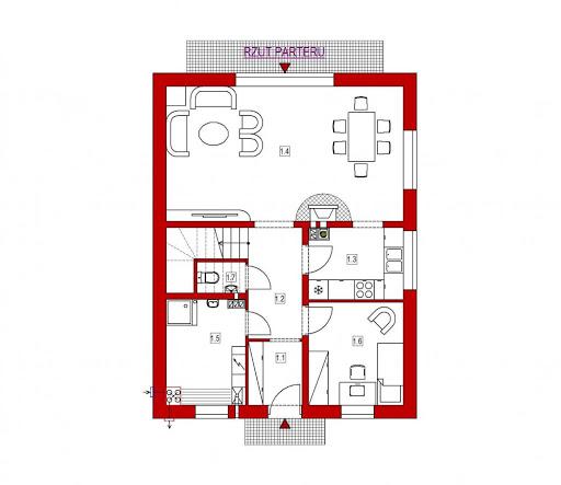 Domek Południowy 015 BK v3 - Rzut parteru