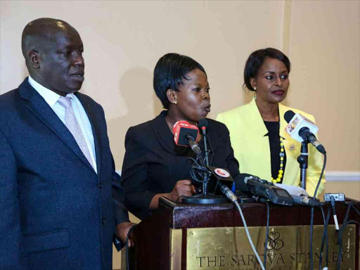 IEBC commissioners Paul Kurgat, Margaret Mwachanya and Vice Chair Consolata Nkatha announce their resignations at a press conference at a Nairobi hotel, April 16, 2018. /COURTESY