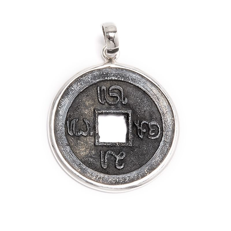 Mynt, heligt hänge i oxiderad mässing