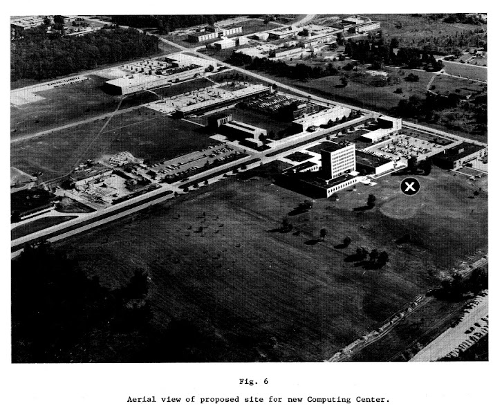 Photo: Aerial view of proposed site for new Computing Center Building on the North Campus, University of Michigan, Ann Arbor, c. 1969
