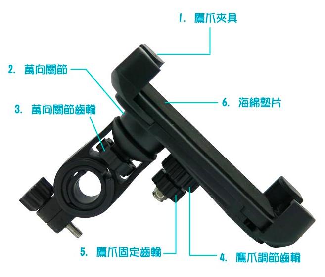 一般的手機支架都會透過調節齒輪固定在機車上