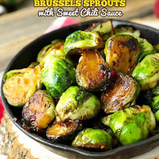 Pan Fried Brussels Sprouts with Sweet Chili Sauce.