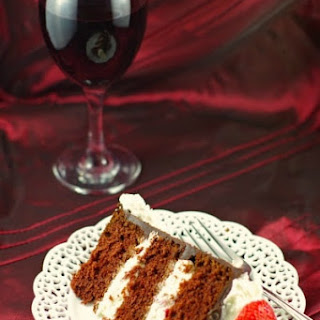Red Wine Strawberry Chocolate Fudge Cake.