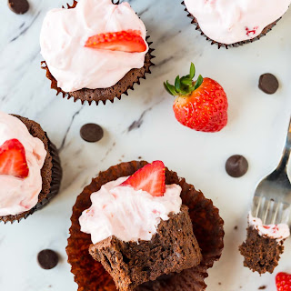 Chocolate Mousse Cupcakes with Whipped Strawberry Cream Cheese Frosting.