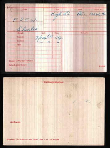 Charles Frew's Medal Index Card