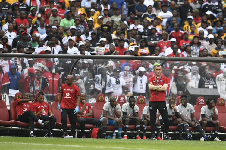 Orlando Pirates coach Milutin Sredojevic during the Absa Premiership match between Orlando Pirates and Kazier Chiefs at FNB Stadium on February 09, 2019 in Johannesburg, South Africa.