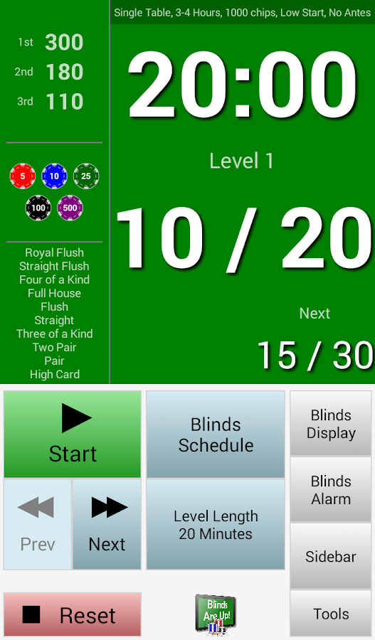Poker 2 players blinds