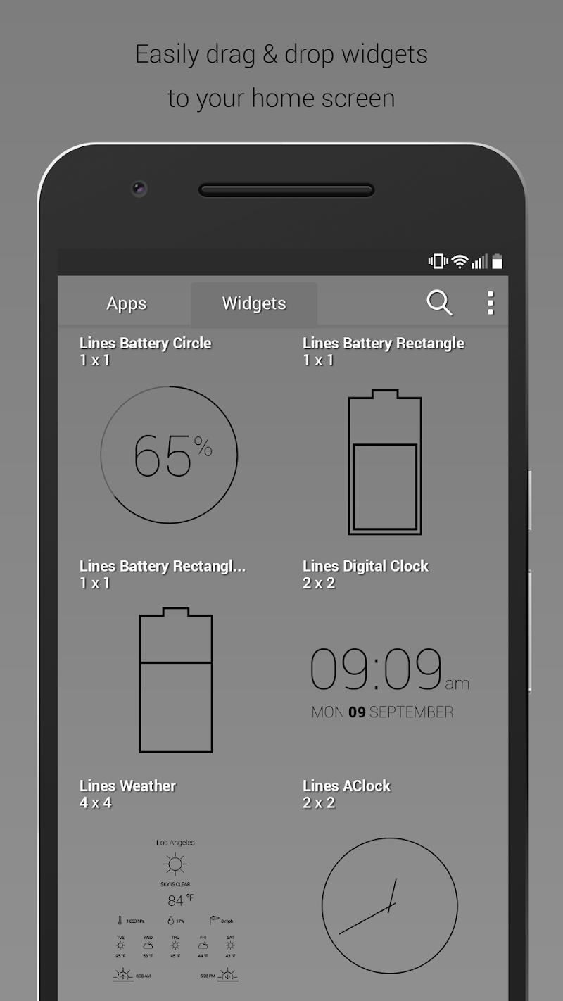 Lines Dark - Flat Black Icons (Pro Version) Screenshot 6