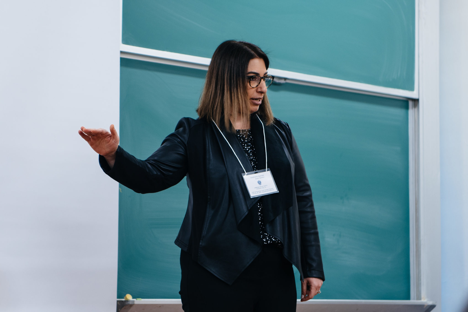 Stephanie speaking to university students at the Feb. 2020 ARS Norian Youth Connect program at Columbia University (Photo: Knar Bedian; The Armenian Weekly)