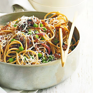 Buckwheat Pasta With Caramelised Onion And Peas
