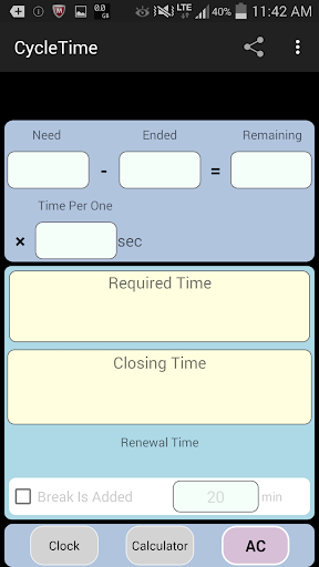 CycleTime Working time calc