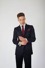 Photo: Navy wool suit or separates with wine silk tie and burgundy spot pocket square