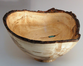 "Photo: Richard Webster - Natural-edge Bowl - 9"" x 6"" - maple with turquoise inlay"