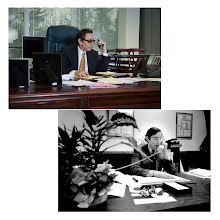 Photo: THEN AND NOW: AccuWeather's founder, Dr. Joel N. Myers, at his desk in 2012 and 1973. Dr. Myers pitched 25,000 potential clients to get his first 100.