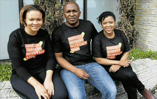 Picture: MICHAEL PINYANA TAKING A STAND: From left, Siphokazi Mnapu, Bande Kekana and Thando Kekana are some of A21's ambassadors fighting against human trafficking in East London Picture: MICHAEL PINYANA
