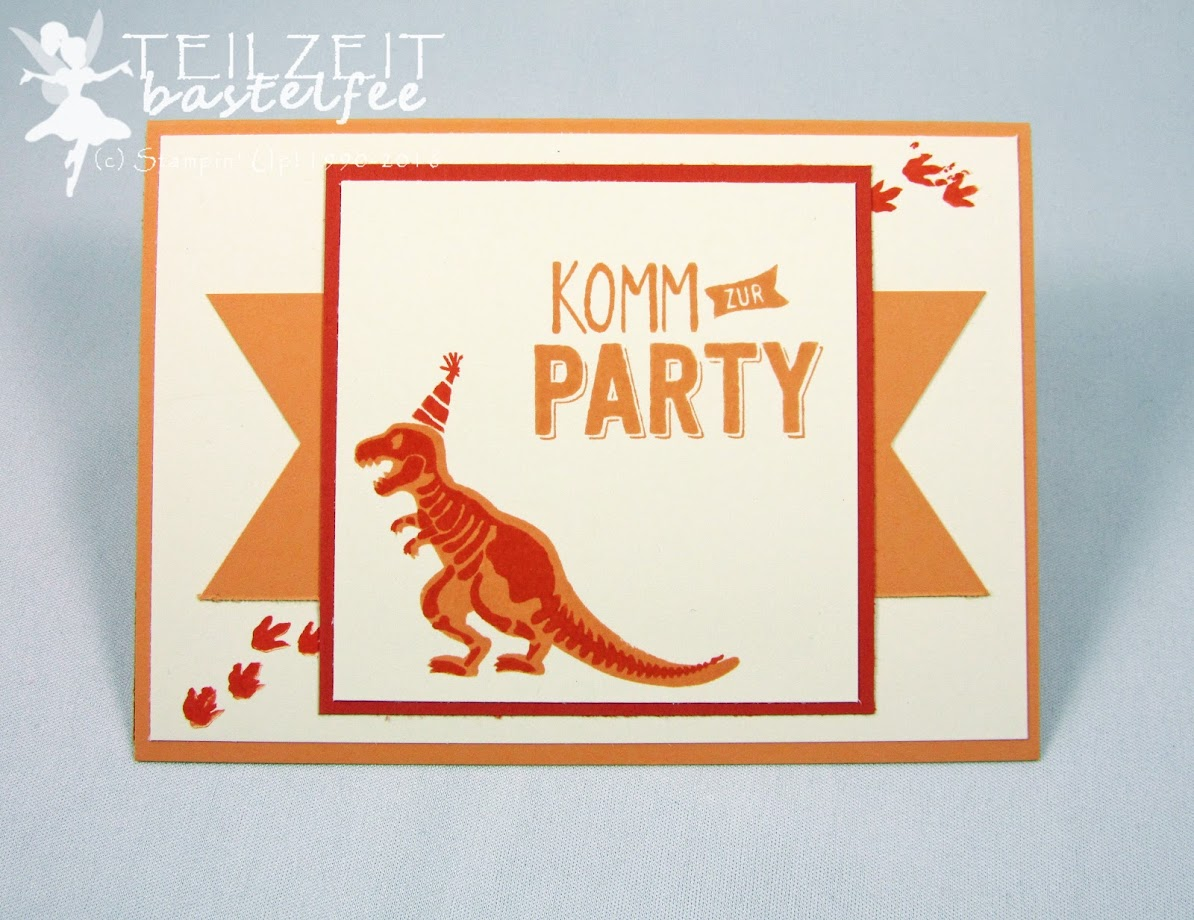 Stampin' Up! – Kindergeburtstag, Kid's Birthday, boy, invitation, Einladung, No Bones about it, Konfetti-Grüße, Confetti Celebration, Dinosaur, Dinosaurier