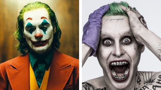 Joaquin Phoenix and Jared Leto's portrayals of The Joker. ( source: Images owned by Warner Bro Entertainment Inc. )