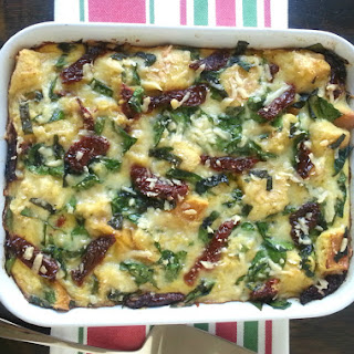Christmas Breakfast Strata with Spinach, Tomatoes & Gruyere Cheese