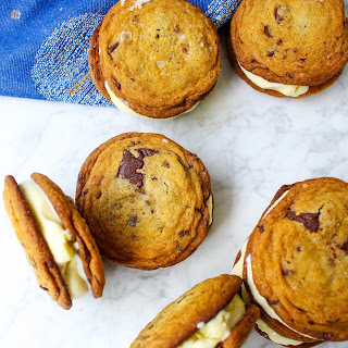Mascarpone Ice Cream & Salted Chocolate Chunk Cookie Sandwiches.