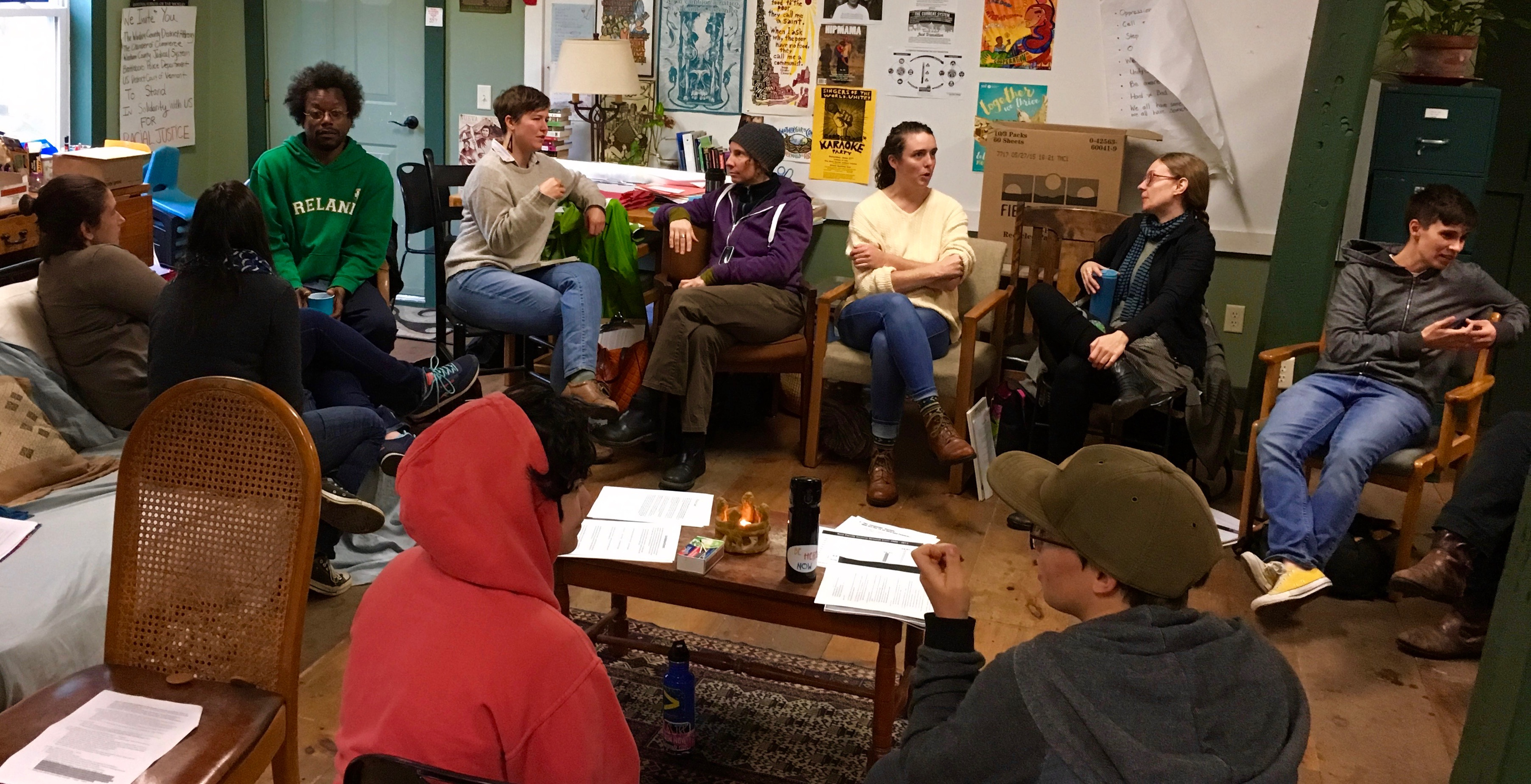 Participants in the Fall 2016 circle, discussing class experiences in pairs