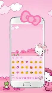 Pink Cute Kitty Bowknot Cartoon keyboard Theme - náhled