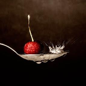 splash by Alex supertramp Bukowski - Artistic Objects Cups, Plates & Utensils ( ciliegia, cherry, macro, lefotodialex, goccia, drop, snap, cucchiaio, spalsh, photo, close up, photography )